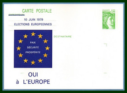 Entier Cp Repiqué Neuf Elections Européennes 1979 (verso Imprimé) - EU-Organe