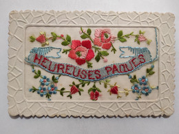 Cpa, Carte Brodée, Heureuse Pâques, Fleurs - Bordados