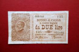 Buono Di Cassa A Corso Legale Lire Due N. 466466 Regno D'Italia Primo '900 - Unclassified