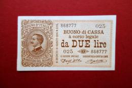 Buono Di Cassa A Corso Legale Lire Due N. 868777 Regno D'Italia Fior Di Stampa - Unclassified