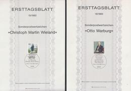 Deutschland Ersttagsblatt - 15/1983 Sondermarke - Christoph Martin Wieland + 16/1983 Otto Warburg - FDC: Feuilles