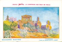 Carte Des Messageries Maritimes L'Acropole Par G.Carré  Repiquage De La Source Perrier - Advertising