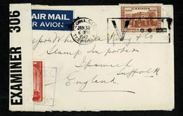 WWII 1941 CANADA  Lettre Cover Censure Censor REGINA.SASK JAN 30 1942 Flamme V...- VICTORY Pour Angleterre PC 90 - Militaria