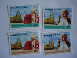 CHAD MINT 4 STAMPS VIZITE POPES - Papas