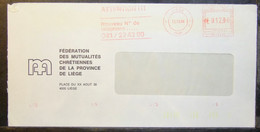 Belgium - Advertising Meter Franking Cover EMA 1984 Liege Christian Federation Health Insurance - 1980-99