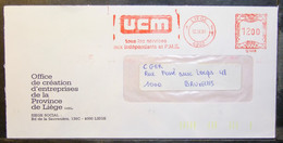 Belgium - Advertising Meter Franking Cover Label EMA 1984 Liege Ucm Formation Training In The Middle Classes - 1980-99