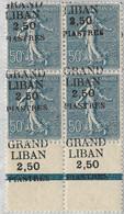 Semeuse Lignée N°9, Bloc De 4, Surcharge à Cheval, Bord De Feuille - Unused Stamps