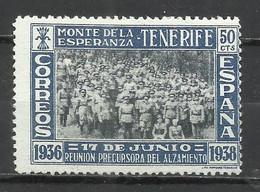 501-NUEVO SIN GOMA ,SELLO ESPAÑA GUERRA CIVIL 1838 CANARIAS,REUNION PRECURSORA DEL ALZAMIENTO EN MONTE ESPERANZA TENERIF - Bienfaisance