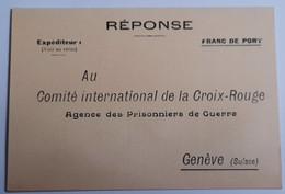 Carte Commité International De La Croix Rouge Agence Des Prisonniers De Guerre Genève Suisse - 1939-45