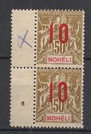 Mohéli - 1912 - N°Yv. 22A** + 22* - Variété Surcharge Espacée Tenant à Normal - Neuf * / MH VF - Neufs