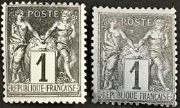 YT 83, 83b TTB Type Sage (*) 1877-80 1c Noir S Azuré Et Noir S Gris Type II (côte 22 Euros) – B2otti - 1876-1898 Sage (Type II)