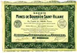 RARE TITRE SOCIETE DES MINES DE BOURBON SAINT HILAIRE à Moulins Allier 1924 B.E.V.SCAN - Bergbau
