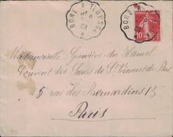 ALGERIE - CONVOYEUR LIGNE - BONE A TEBESSA - LE 6 MAI 1909 - SEMEUSE - 10c ROUGE. - Posta Ferroviaria