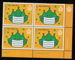San Marino 2020 Pro I.S.S. (Institute For Social Security San Marino)  - Covid 19 1v  Complete Set In Quartina ** MNH - Unused Stamps