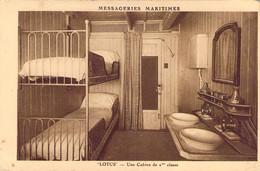Paquebot LOTUS Des Messageries Maritimes Une Cabine De 2ème Classe - Steamers