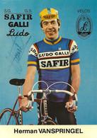 CARTE CYCLISME HERMAN VAN SPRINGEL SIGNEE TEAM SAFIR GALLI 1981 - Cycling