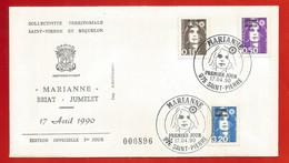 """SAINT PIERRE Et MIQUELON.""""Marianne""""  Briat - Jumelet N°896 - FDC -  Enveloppe 1er Jour Du 17 Avril  1990. - FDC"""