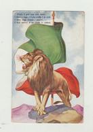 """CARTOLINA """"D'ITALIA IL GRAN LEONE ECCO RISORTO.."""" P.M. ALBANIA N.1 DEL 1916 - ANNULLO REGIO CORPO COMANDO REP.AUTOMOBILI - Guerra 1914-18"""