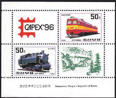 Korea, North 1996 MNH Sc #3549, #3550 Sheet Of 2 Trains Plus 2 Labels CAPEX '96 - Corée Du Nord