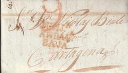 LOTE 2182 /// (C225) ESPAÑA 1830-CARTA-PREFILATELIA. ADRA A CARTAGENA. Marca LAUJAr / ANDALª / BAJA - ...-1850 Prefilatelia