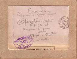 LETTRE DE NEVERS POUR AIGLE VAUD , CORRESPONDANCE PRISONNIERS DE GUERRE INTERNES SUISSE , CENSURE 159 + CONTRÔLE - 1918 - 1. Weltkrieg 1914-1918