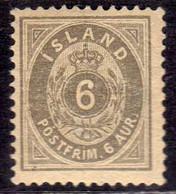 ISLANDA ICELAND ISLANDE 1876 NUMERAL CIFRA AUR 6a GRAY MNH - FDC