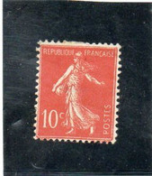 FRANCE   1906  Y.T. N° 135  Rouge  NEUF*  Charnière - 1906-38 Semeuse Con Cameo