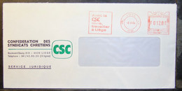 Belgium - Advertising Meter Franking Cover EMA 1984 Liege Confederation Of Christian Trade Unions - 1980-99