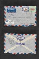 Sudan. 1955 (19 March) Port Sudan - Germany, Bonn (25 March) Registered Air Multifkd Env. VF. - Sudan (1954-...)