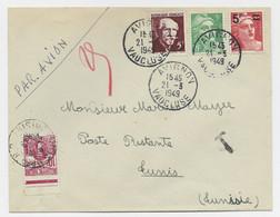 GANDON N° 827 +809+820 LETTRE AVION AVIGNON 21.3.1949 POUR TUNISIE EN POSTE RESTANTE TAXE 10FR BDF - 1945-54 Marianne De Gandon