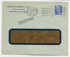 GANDON 12FR BLEU SEUL LETTRE A FENETRE PERFORE DMC DOLLFUS MIEG CIE MULHOUSE GARE 24.10.1949 - 1945-54 Marianne De Gandon
