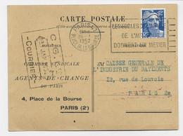 GANDON 12FR BLEU SEUL PEFORE CA CARTE PRIVEE AGENTS DE CHANGE PARIS 30.1.1952 AU TARIF - 1945-54 Marianne De Gandon