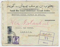 KUWAIT ARABIA ENGLAND LETTRE COVER KUWAIT 1932 IRAQ TO HELVETIA VIA ISTANBUL CENSOR + VIGNETTE MONTRE OMEGA AU DOS - Other