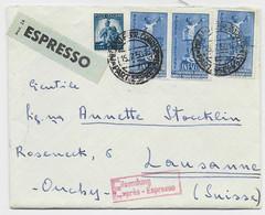 ITALIA UNESCO 55 LIREX3+5L LETTERA LETTRE COVER EXPRESSO FIRENZE 15.7.1950 TO SUISSE - 1946-60: Marcofilia