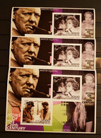 SOMALI REPUBLIC 2001 ICONS OF THE 20TH CENTURY W.CHURCHILL &M.DIETRICH 3 SHEETS IMPERFORED MNH MNH - Sir Winston Churchill