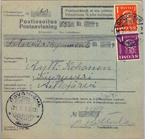 1930 , FINLANDIA , MONEY ORDER / GIRO POSTAL , ROVANIEMI - KIURUVESI - Cartas