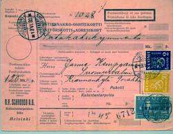 1930 , FINLANDIA , TARJETA DE ENVIO CONTRA REEMBOLSO , HELSINKI - SUOMUSSALMI - Cartas