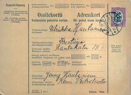 1927 , FINLANDIA , TARJETA DE ENVIO PAQUETES POSTALES , KAMI - KRISTITNA - Cartas