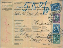 1927 , FINLANDIA , TARJETA DE ENVIO PAQUETES POSTALES , VAASA - KRISTITNA - Cartas