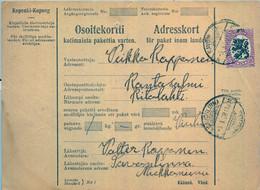 1928 , FINLANDIA , TARJETA DE ENVIO PAQUETES POSTALES , SAVONLINNA - RANTASALMI - Cartas