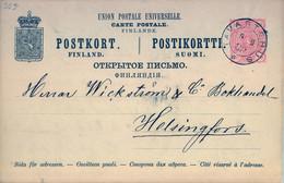 1888 , FINLANDIA , TARJETA ENTERO POSTAL CIRCULADA , TAVASTEHUS - HELSINKI , LLEGADA - Postal Stationery