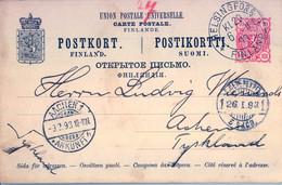 1893 , FINLANDIA , TARJETA ENTERO POSTAL CIRCULADA ,  HELSINKI - AACHEN , TRÁNSITO , LLEGADA - Postal Stationery
