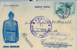 1939 VIZCAYA , TARJETA POSTAL CIRCULADA , BILBAO - TROSSINGEN , CENSURA MILITAR / DOMINGO 13 - 1931-50 Cartas