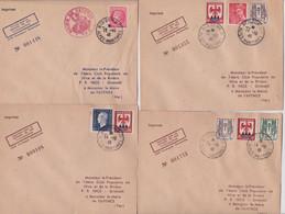 France Aviation Enveloppe Philatélique Essai De Lestage De Plis 1946 Aéro Club Nice Fayence Lot 4 Lettres Imprimé Numéro - Cartas