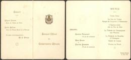 Menu - Banquet Officiel Du Conservatoire Africain (Taverne Royale, Bruxelles 1934) - Menus