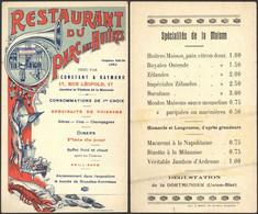 """Imprimé """"Restaurant Du Parc Aux Huitres"""" (Imp. Bruxelles) Tenu Par Constant & Raymond / Plis. - Menus"""