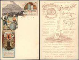 Menu - Chocolat Suchard (Neuf, Glaris Suisse) + Illustration Au Verso, Superbe ! - Menú