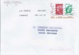 MARIANNE DE BEAUJARD N°4566+4593 Du BLOC4687 SUR LETTRE DU 5.10.12 POUR POSTE RESTANTE - 2008-13 Marianne De Beaujard
