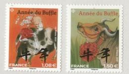 France 2021-Année Du BUFFLE Petit Modèle Les 2 TIMBRES  Neuf ** - Nuevos