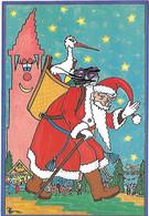 Le PERE NOEL - Cigogne Hotte Jouets Sapin Fête Canne - Joyeux Noël Et Meilleurs Voeux - Dessin Patrick Hamm - Ohne Zuordnung